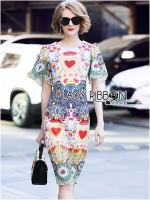 Milly Colorful Embellished and Embroidered Lace Dress