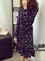 Dress พิมพ์ลายดอกไม้ ทรงคอจีน