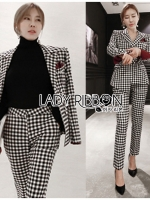 Valentina Sophisticated Chic Black and White Checked Suit Set