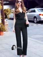 เสื้อผ้าเกาหลีพร้อมส่ง จั๊มสูทแขนกุดสีดำ คอวีด้านหลังเป็นงานลูกไม้ซีทรู