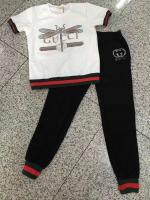 Set เสื้อ+กางเกง ลาย Gucci ผ้ายืดเด้งรีดเพชร