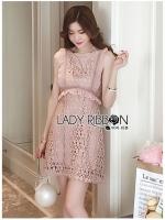 Andrea Ruffle Baby Pink Lace Mini Dress