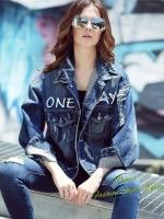เสื้อผ้าแฟชั่นเกาหลีพร้อมส่ง French fries Jeans Jacket