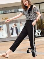 เสื้อผ้าเกาหลีพร้อมส่ง Black N White Easy Life Set