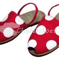 PK001 รองเท้าแฟชั่น รัดส้น รองเท้าแตะสำหรับสาวๆ สีแดงลายจุดขาว มีSize 35-40