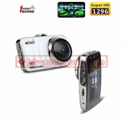 FIRST SCENE v5 กล้องติดรถยนต์ 170ºG-sensor IPS WDR จอ3นิ้ว full hd 1296P