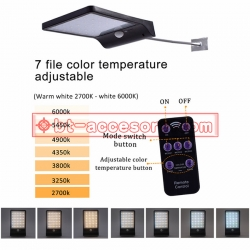 Solar Motion sensor light 48LED 24 White light + 24 warm light Remote controlปรับแสงได้