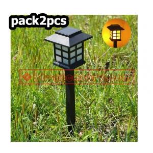 Pack2pcs Solar light 1 LED ไฟปักสนาม พลังงานแสงอาทิตย์โซล่าเซลล์ ไฟเหลือง
