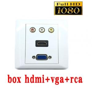 หน้ากากเต้ารับสาย HDMI+vga+rca full hd outlet WALL SOCKETติดในผนัง
