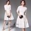 ชุดเดรสเกาหลีพร้อมส่ง Suzan White Lace Luxury Dress thumbnail 8