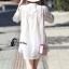 เสื้อผ้าเกาหลีพร้อมส่ง เสื้อคอจีนสีขาว แขนศอก thumbnail 2