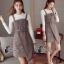 เสื้อผ้าเกาหลี พร้อมส่งเอี้ยมกระโปรงลายสก๊อตสีเทาScott&Shinori thumbnail 10