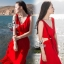 Ribbon Shoulder Sexy Waist Back Red Hot Maxi Dress thumbnail 3