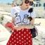 ( พร้อมส่ง) Set Perfume Print Chanel Style Diamond Fernish Top match with Dotty Red Skirt by Seoul Secret thumbnail 1
