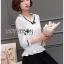 เสื้อผ้าเกาหลีพร้อมส่ง เสื้อผ้าลูกไม้สีขาวตกแต่งริบบิ้นสีดำสไตล์วินเทจ thumbnail 12
