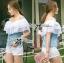 ( พร้อมส่งเสื้อผ้าเกาหลี) เสื้อเปิดไหล่ผ้าลูกไม้ตัดต่อผ้าเดนิมสุดหวาน ตัวนี้เหมาะกับสาวลุคคุณหนูไฮโซหวานๆ ดีเทลเก๋มากที่ช่วงไหล่ถึงอกเป็นผ้าลูกไม้คอตตอนฉลุลายสวยมากๆ มีสองชั้นเป็นเลเยอร์ ตรงคอเสื้อจะเป็นยางยืดนะคะเพื่อจะเปิดไหล่ก็ไดหรือไม่เปิดก็ได้ค่ะ thumbnail 3