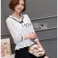 เสื้อผ้าเกาหลีพร้อมส่ง เสื้อผ้าลูกไม้สีขาวตกแต่งริบบิ้นสีดำสไตล์วินเทจ thumbnail 10