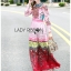 Ella Fancy Colourful Embellished and Printed Crepe Long Dress thumbnail 3