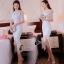 ชุดเดรสเกาหลีพร้อมส่ง Dress ลูกไม้สีขาวงานตัดเย็บอย่างดี thumbnail 8