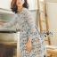 ชุดเดรสแฟชั่นพร้อมส่ง เดรสผ้าลูกไม้สีเทาอมฟ้าไลแล็คสไตล์แบรนด์ Self-Portrait thumbnail 2