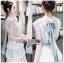 Astrid Blue Back Ribbon Scalloped White Lace Dress thumbnail 3