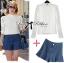 ( พร้อมส่งเสื้อผ้าเกาหลี) เซ็ตเสื้อเชิ้ตแขนยาวตกแต่งลูกไม้และกางเกงขาสั้นจับพลีต เซ็ตนี้เหมือนที่ดาราสาว Emma Roberts ใส่เป๊ะค่ะ เหมาะกับใส่เดินเล่นพักผ่อนในสไตล์ Out and about ตัวเสื้อเป็นทรงเชิ้ตแขนยาว ช่วงอกตัดต่อลูกไม้ทางยาว ช่วงแขนตกแต่งผ้าลูกไม้ เก๋ thumbnail 1