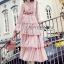 Jill Printed Layered Pink Chiffon Dress thumbnail 2