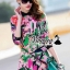 เสื้อผ้าเกาหลี พร้อมส่งFashionista pink flora set thumbnail 1