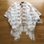 Amanda Feather Embroidered See-Through Poncho in White thumbnail 5