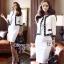 เสื้อผ้าเกาหลี พร้อมส่ง เซ็ตเสื้อคลุมโทนสีขาวตัวสั้นตัดแต่งขอบสีดำ thumbnail 8