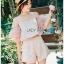 Leslie Color-Blended Pink Off-Shoulder Top and Shorts Set thumbnail 1