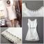 ชุดเดรสเกาหลี พร้อมส่ง luxury สีขาวช่วงชายชุดเดรสด้วย เพชรและมุข อย่างดี thumbnail 9