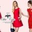 ( พร้อมส่ง) เดรสสีแดงหรูหรา แบรนด์ D&G เนื้อผ้าละเอียดสวย ดีเทลตกแต่งซิปทองที่กระเป๋า ช่วงกระโปรงระบายบานสวย มีซับในในตัวค่ะ thumbnail 4