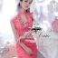 ชุดเดรสเกาหลี พร้อมส่ง เดรสลุคหรูหรา feminineเป็นสาวหวานด้วยผ้าลูกไม้ลายสวยโทนสีชมพูพีช thumbnail 3