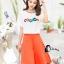 เสื้อผ้าเกาหลี พร้อมส่งCoCo Shirt + Skirt Pant Set thumbnail 2