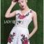 เสื้อผ้าเกาหลี พร้อมส่งเพลย์สูทขาสั้นผ้าลูกไม้ปักดอกกุหลาบสีแดง3D thumbnail 9