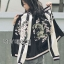 Sara Sporty Chic Floral Embroidered Satin Bomber Jacket thumbnail 3