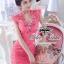 ชุดเดรสเกาหลี พร้อมส่ง เดรสลุคหรูหรา feminineเป็นสาวหวานด้วยผ้าลูกไม้ลายสวยโทนสีชมพูพีช thumbnail 2