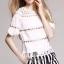 เสื้อผ้าเกาหลี พร้อมส่ง Chic Layer Lace Stripy Pants Set thumbnail 4