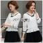 เสื้อผ้าเกาหลีพร้อมส่ง เสื้อผ้าลูกไม้สีขาวตกแต่งริบบิ้นสีดำสไตล์วินเทจ thumbnail 11