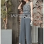 Donna Smart Casual Dark Grey Lace and Crepe Jumpsuit with Belt thumbnail 3