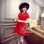 ชุดเดรสเกาหลี พร้อมส่ง เดรสลูกไม้สีแดงสด ผ้าเกรดดี thumbnail 2