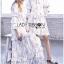 Danielle Flower Printed Navy Blue Chiffon Ruffle Maxi Dress thumbnail 4