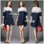 ชุดเดรสเกาหลี พร้อมส่งเดรสผ้าคอตตอนสีน้ำเงินเข้มตกแต่งผ้าลูกไม้สีขาว thumbnail 6