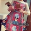เสื้อผ้าเกาหลี พร้อมส่ง งานมินิเดรสพิมลายสกรีนหน้าผู้หญิงสไตล์ โบฮีเมี่ยน thumbnail 2