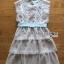Astrid Blue Back Ribbon Scalloped White Lace Dress thumbnail 6