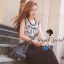 ชุดเดรสเกาหลี พร้อมส่ง Sequins Furnish Two Tone Maxi Dress thumbnail 2