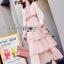 Jill Printed Layered Pink Chiffon Dress thumbnail 6