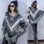 Winter Tassel V Stripes Knit Bat Sleeve Blouse thumbnail 3