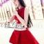 ชุดเดรสเกาหลี พร้อมส่งเดรสสไตล์ Luxury สีแดงเรียบหรู thumbnail 7